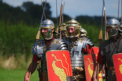 Roman Soldiers Marching, Ermine Street Guard, Kelmarsh Festival of History 2009 (Steve Greaves) Tags: red italy rome leather silver walking army gold march italian ancient war uniform catchycolours dress arms roman juliuscaesar sandals military helmet battle event marching sword imperial conflict soldiers historical shield recreation armour period invasion reenactment troops romanempire reenactors authentic legion romans invading armoury reconstruction invaders cohort legionary spear livinghistory reenacting warfare breastplate englishheritage kelmarsh erminestreetguard gladius battledress kelmarshhall paxromana nikond300 fightingforce 43ad
