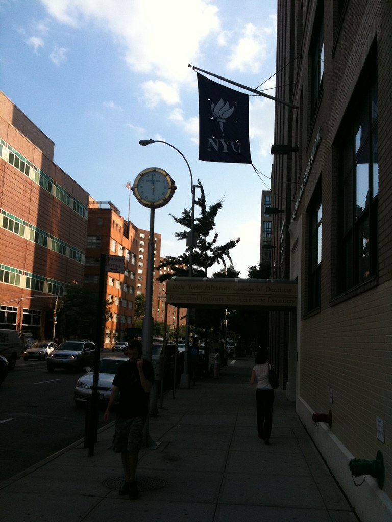 Raymond Weil clock outside NYU Medical Center