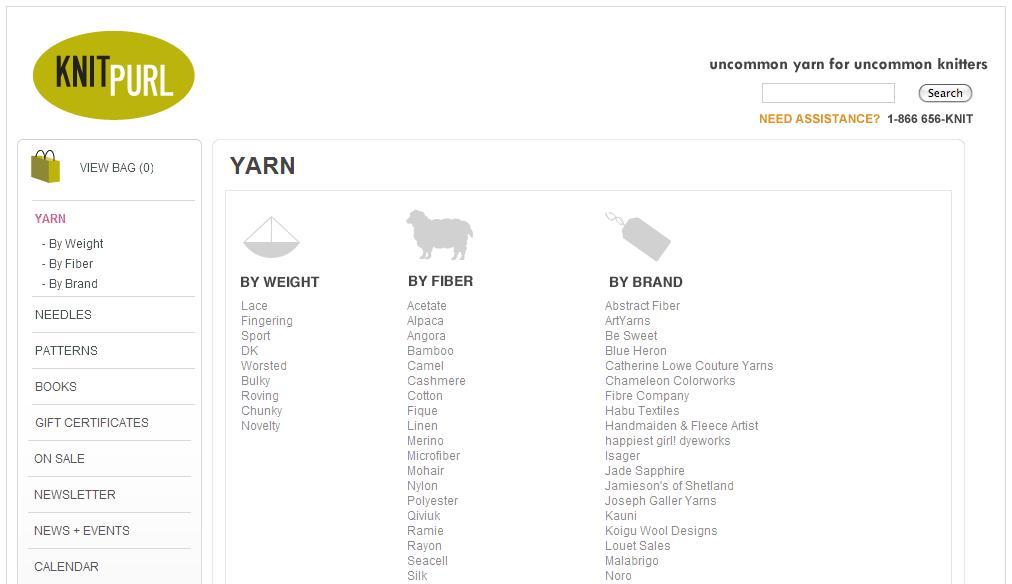 Knit Purl yarn page