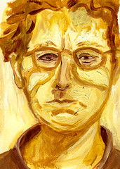 Quick Study (Not Quick Enough): 2009.08.09 (Julia L. Kay) Tags: portrait selfportrait art yellow self painting paper colorful paint artist acrylic julia kunst autoretrato kay daily 365 everyday ochre expressionistic juliakay julialkay