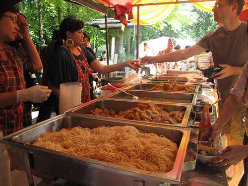 Rows of food hungry people