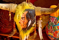 Painted Skull (julesnene) Tags: travel newmexico santafe southwest art artwork colorful decoration ornament northamerica foundobject americanindian localflavor canon50d paintedskull julesnene classicsouthwest juliasumangil beautifulindianart