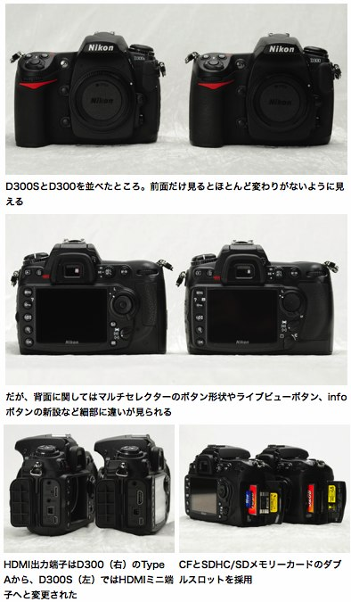 Nikon D300S vs Nikon D300: Side-by-side photos at DC.Watch