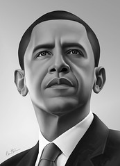 Barack Obama - Realistic Portrait - 2 - (Ben Heine) Tags: wallpaper portrait blackandwhi