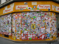 Massive Sticker Combo (tofz4u) Tags: streetart paris sticker artisan autocollant streeart artderue patissier 75011 boulanger massivestickercombo