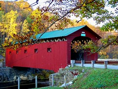 West Arlington Covered Bridge (rich66 ~~) Tags: road bridge red tree fence landscape wooden vermont branches newengland structure coveredbridge traveling span lattice battenkillriver westarlingtonbridge westarlingtonvt