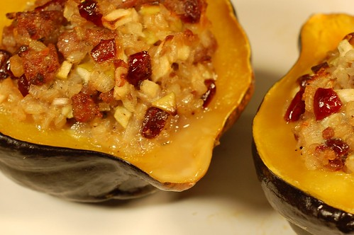 Sweet & Savory Stuffed Acorn Squash by Eve Fox, Garden of Eating blog