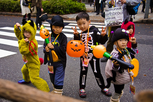 Costumed Kids pose for cameras, Halloween Parade, Tokyo