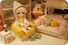 couch & chair (amy_gee) Tags: yellow modern furniture handmade miel bjd dollhouse sewn lati