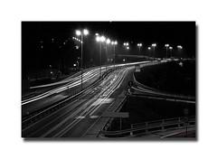 Scie (ThePetrock) Tags: auto bw italy abstract cars strange speed lights strada italia luci runway velocità ancona longtime petrock otw scie d80 superstrada flickraward bwartaward