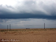 Blue Line (Abdullah Al-Butairi) Tags: blue sky line مطر سماء غيوم صحراء سحاب طريق رمال زرقاء صحراوي