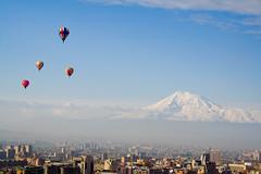 Balloons,Mount Ararat and Armenian Capital City ,Yerevan (Lea_from_Armenia) Tags: ci