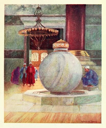 029-Fuente en la entrada de Santa Sofia- Constantinople painted by Warwick Goble (1906)