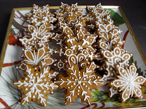 Gingerbread Snowflake Decorated Cookies