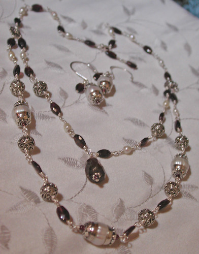 Bali Silver, Garnet, and Pearl Necklace and Earrings