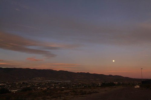 Moonrise over the desert landscape north of Almería.