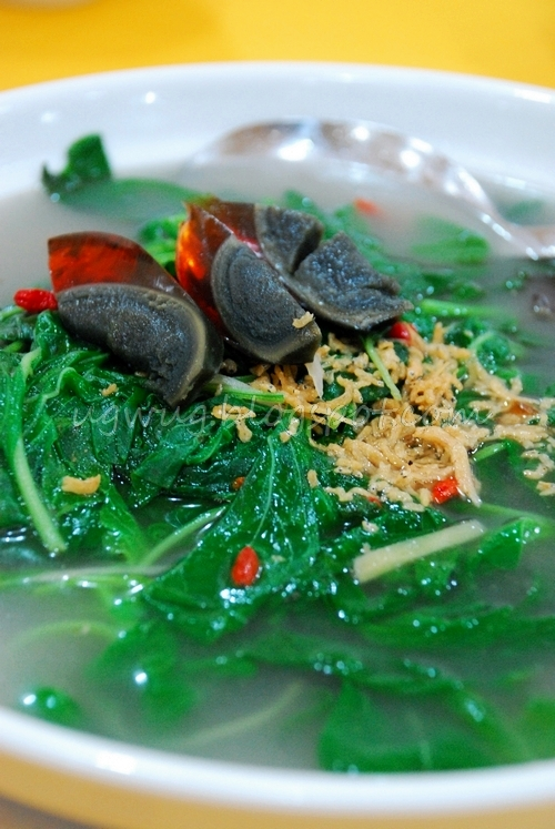 Spinach Soup with Century Eggs