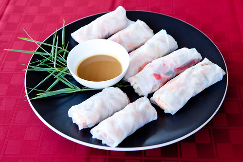 Shrimp and chicken spring rolls