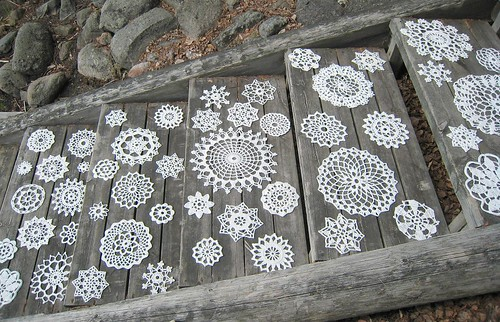 Doilies on the stairs, WIP