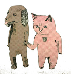Cat and Dog (juliapott) Tags: dog love animals illustration cat animation holdhands casiotoneforthepainfullyalone
