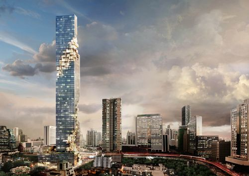 Ole Scheerens MahaNakhon tower. (Courtesy OMA)