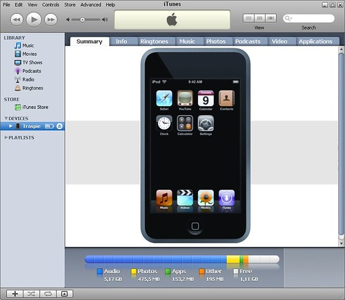iPod Touch running inside iTunes