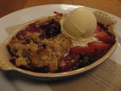 Gialina Pizzeria in San Francisco -  Blackberry peach crisp, vanilla ice cream