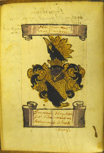 Hand coloured woodcut armorial shield in Thomas à Kempis: Imitatio Christi