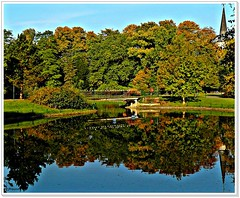 Start of fall season (jackfre2 (on a trip-voyage-reis-reise)) Tags: park bridge blue autumn trees sky reflection fall church grass playground kids forest pond colours belgium path walk pigeons lawn spire grandkids antwerp lifesaver beautifulday wilrijk edegem steytelinck theunforgettablepictures platinumheartaward flickrestrellas