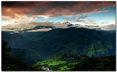 patch of green (Soumya Bandyopadhyay) Tags: sunset green colors landscape panoramic valley himalaya sikkim pelling gradnd pentaxk200d pentax1855mmii