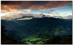 patch of green (Soumya Bandyopadhyay) Tags: sunset green colors landscape panoramic valley himalaya sikkim pelling gradnd pentaxk200d pentax1855mmii