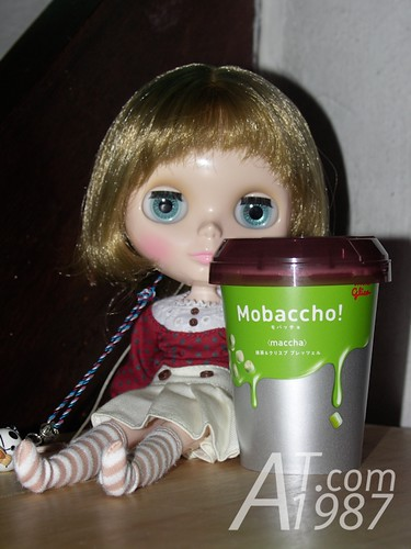 My daughter with Glico Mobaccho! <maccha>
