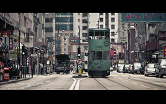 the double decker (millan p. rible) Tags: life road street cinema bus cars real hongkong track ride transport streetphotography tram cine lane transportation cinematic 1904 lanes tranvia anamorphic sheungwan cinemascope signages doubledeck westernmarket hongkongtramways canonef70200mmf28lisusm canoneos5dmarkii millanprible thedoubledecker