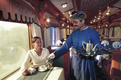 The Indian Maharaja, Deccan Odyssey - Restaurant car, steward