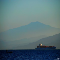 David and Goliath - Crossing the Messina Strait (Osvaldo_Zoom) Tags: sea seascape david landscape volcano boat ship sicily goliath etna calabria noponte messinastrait