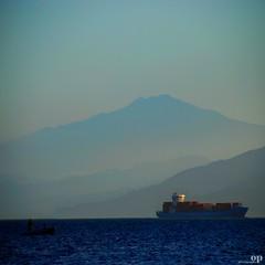 David and Goliath - Crossing the Messina Strait (Osvaldo_Zoom) Tags: sea seascape david landscape volcano boat ship sicily goliath etna calabria noponte messinastrait