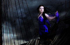 Voyage Home. (MC BAILY) Tags: ocean blue sea sky storm sexy beautiful clouds photoshop dark hair studio model ship dress wind ps rope fantasy adobe journey sail fx rigging strobe galleon