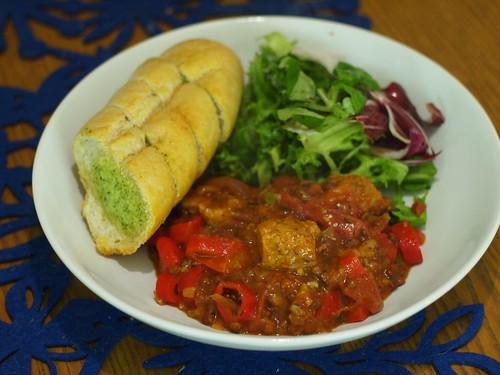 Sausage, pepper + lentil casserole
