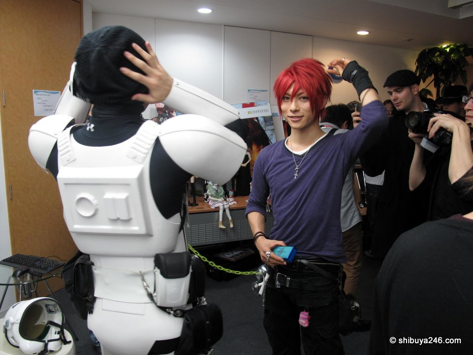 Danny and Kaname getting ready for some filming.