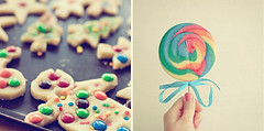 #18 (_cassia_) Tags: pink blue two orange green cookies yellow circle baking rainbow diptych candy chocolate turquoise stripes pair multicoloured explore sprinkles round sweets biscuits swirl ribbon lollipop weekly frontpage collaboration twophotographers