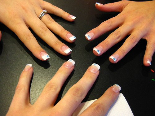 Snowflakes on our nails!