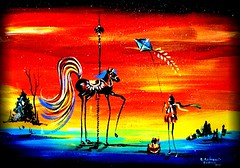 ABSTRACT CAROUSEL HORSE KITE (pepe355) Tags: christmas new old dog lake holiday kite abstract buildings fire paint artist drawing paintings craft jersey prints amusmentpark firehouse hiawatha carouselhorse carouselart dandreuccibudney