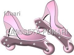 desenho patins scarpin rosa choque sapato metalizado