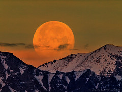 Moonset, Sierra Crest (DM Weber) Tags: california orange moon telephoto moonset sierranevadas orangemoon sierracrest magicalbeauty psa148 travelsofhomerodyssey dmweber
