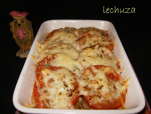 Pasta con champiñones-horneado