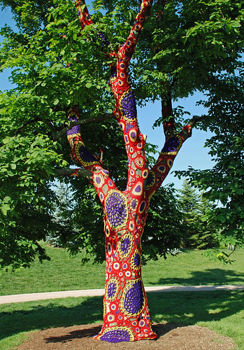 """Lichen It"" nylon crochet art, Morton Arboretum by ihynz7"