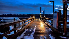 Caution:  Icy lead (Images by Christie ♪♫ Happy Clicks for 2017 !) Tags: bluehour wharf pier dock mapleridge blue icy kanakalanding bc canada river fraserriver boats cold winter planks lead railing fence ice nightphotography evening lowlight lighting light shine sheen