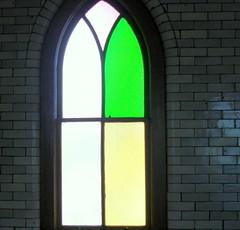 The Window in Green (Clara Hinton) Tags: green church interesting stainedglass achitecture churchwindow cumberlandmaryland platinumphoto clarahinton travelsofhomerodyssey thewindowingreen