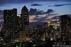 Tokyo sunset... (Ken.Lam) Tags: park blue sunset tower st japan clouds buildings river lights tokyo dusk illuminations fantasy hour   lukes sumida tsukishima hdr axis typhoon offices  toyosu      rejoct2010