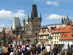 Spot the differences 3 - Charles Bridge, Prague (Mike G. K.) Tags: city bridge sky people game castle church architecture clouds photoshop manipulated buildings geotagged arch view prague cathedral crowd statues sunny praha medieval spire explore czechrepublic differences charlesbridge frontpage slope karlovmost crowed praguecastle prazskyhrad saintvitus bridgetower spotthedifferences geo:lat=50087086 geo:lon=14407566